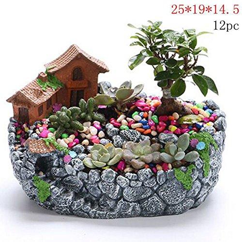 Be&xn Macetas Decorativas simulación Creativa Multi-Flor de Resina Verde plantando Escritorio-A