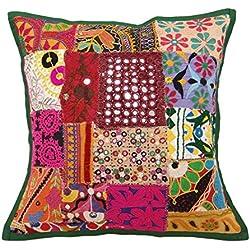 patchwork cojín indio funda de almohada multicolor sofá kutch fundas de cojines 17 x 17