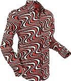 70er Jahre Hemd Wavyline Black-Red-Creme Größe M