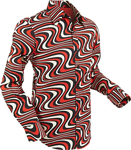 line Black-Red-Creme Größe L (70er Jahre Kleidung Männer)