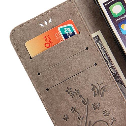EUWLY Protettiva Case Cover per iPhone 7 Plus/iPhone 8 Plus (5.5) Custodia Portafoglio in PU Pelle Cover Elegant Premium PU Leather Wallet Cover Goffratura Farfalla e Fiore Rosa Design Pelle Custodia Grigio