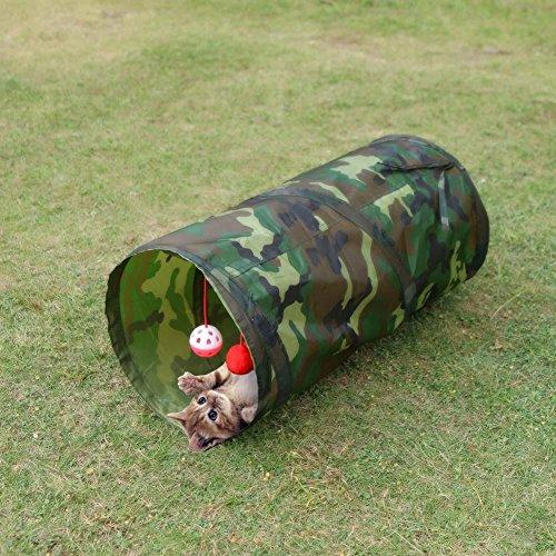 Demiawaking Tunnel di Gatto Domestico Giocattolo Pieghevole con Due Palle Giocattolo Interattivo per Gatto (Colore mimetico)
