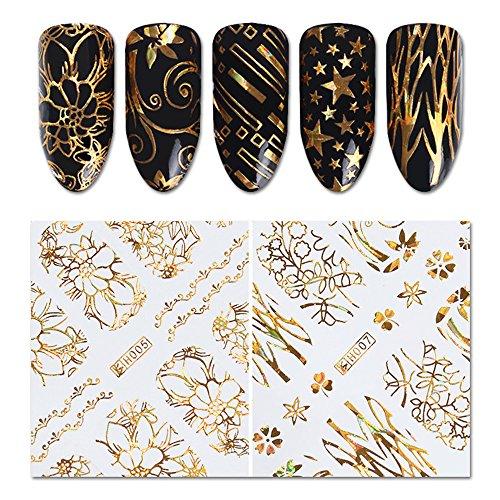 Holographische 3D Nail Sticker Gold Blume Stern Kreis Schmetterling Klebstoff Holo Nagel Folie 3D Aufkleber Maniküre Nail Art Dekoration (8 Muster) (Acryl-nägel Designs Für Halloween)