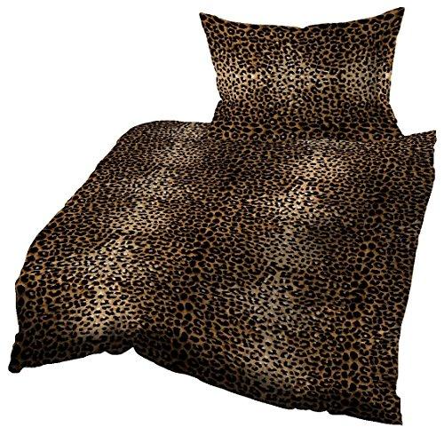 Gerald Wittmann Juego de Funda Nórdica Cama/Edredón de Microfibra, Leopardos, Negro Marrón, 140x200 cm + 70x90 cm