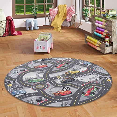 Snapstyle Kinder Spiel Teppich Walt Disney Cars Auto Grau Rund in 7 Größen