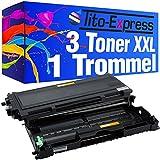 3x Toner-Kartusche & Trommel XXL Schwarz kompatibel für Brother TN2000 & DR-2000 HL-2050 HL-2070 HL2070N PlatinumSerie