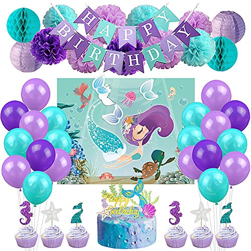 LUCK COLLECTION Meerjungfrau Party Dekorationen Supplies Favor Spiele Kit Meerjungfrau Party Spiele Kuchen Toppers Ballons für Meerjungfrau Geburtstag Baby Shower Under The Sea Party Supplies