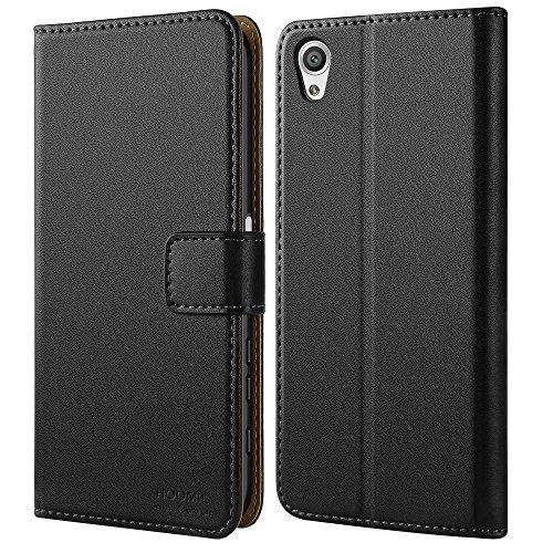 Sony Xperia X Hülle, HOOMIL Handyhülle Premium Leder Tasche Flip Case Schutzhülle für Sony Xperia X - Schwarz (H3174)