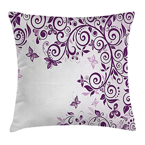 fjfjfdjk Classic Twiggy French Styled Lilium Floral Branch Lovely Swirls Design Artwork PrintMauve Decor Throw Pillow Cushion Cover Decorative Square Accent Pillow Case 18 X 18 Inches Violet - Body Contour Spa