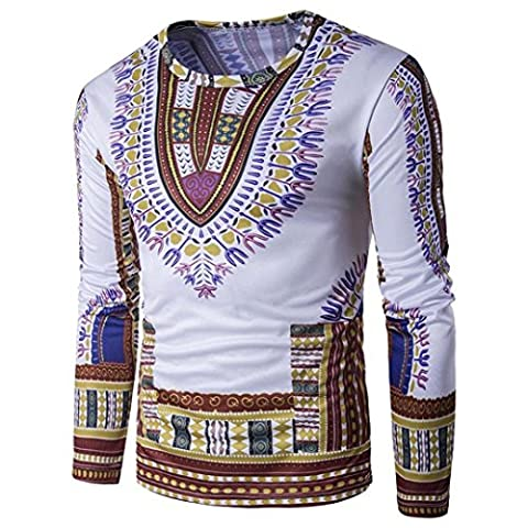 Men's Shirts, Manadlian 2017 New Men Traditional Casual Thailand Style African Print O Neck Long Sleeve T Shirt Blouse Tank Tops (M, Brown)