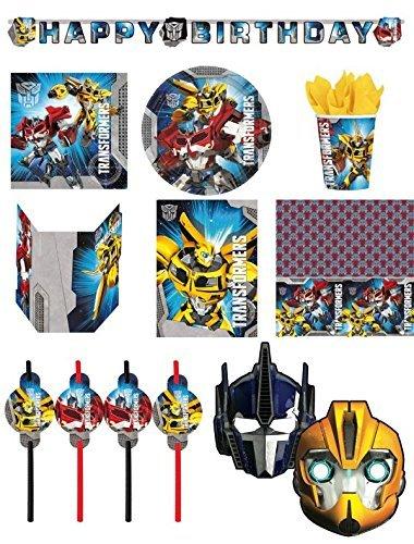 64-teiliges Set Per Feste Transformers Piatti, Tazza, Tovaglioli, Tovaglia, Biglietti Da Invito, Striscione Per Feste, Borse Festa, Cannucce Da Festa, Maschere