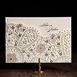vstoy Laser geschnitten Hochzeit Einladungen Elegant Blumen Champagner Gold Party Einladungen Karten für Hochzeitsgastgeschenke mit Umschlägen und Dichtungen 20Stück