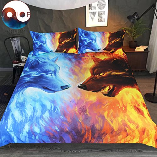Sleepwish Fire und Ice by jojoesart Bettwäsche Set 33D Icy Hot Wölfe Bettwäsche-Set Blau und Orange Bettbezug King Gelb - King-set Gelb Bettbezug