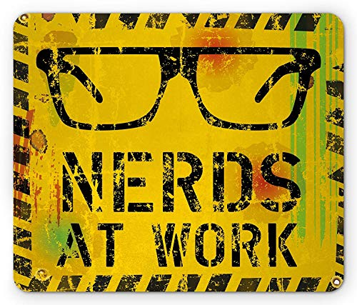 WYICPLO Retro Mouse Pad, Nerds at Work Grunge Fictional Sign Glasses Hazard Stripes Work Hard Theme, Standard Size Rectangle Non-Slip Rubber Mousepad, Yellow Black Green