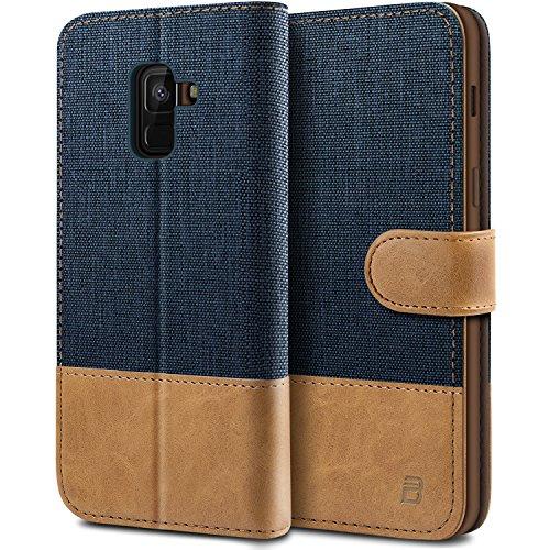 BEZ® Hülle für Samsung A8 2018 Hülle, Handyhülle Kompatibel für Samsung Galaxy A8 2018, Handytasche Schutzhülle Tasche Case [Stoff und PU Leder] mit Kreditkartenhaltern, Blaue Marine