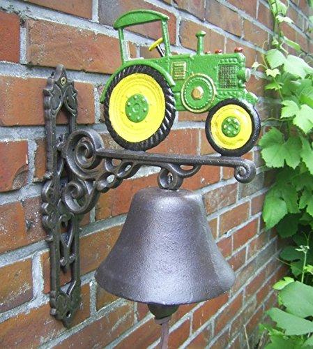 Unbekannt Türglocke Verschiedene Dessins Gusseisen Antik Nostalgie Stil Retro Bauernhof Tiere Feuerwehr ect. (Traktor grün)