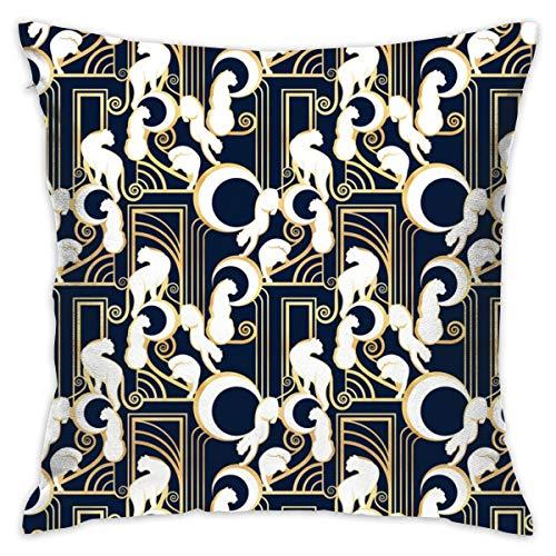 atopking Deco Gatsby Panthers Tiny Scale Navy and Gold_5912 Kissen, Kissen, weiche Kissen aus Leinen und Baumwolle, 18 x 18 cm, für Auto Zimmer mit Sofa