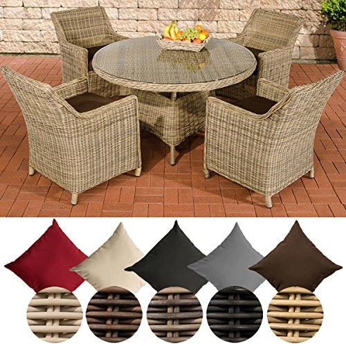 CLP Polyrattan-Sitzgruppe BOVINO inklusive Polsterauflagen | Garten-Set bestehend aus einem runden Esstisch mit einer pflegeleichten Tischplatte aus Glas und vier Sesseln | In verschiedenen Farben erhältlich Rattan Farbe natura, Bezugfarbe: Terrabraun