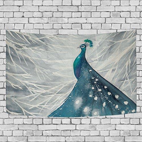 jstel Aquarelle Abstrakt Pfau Wandteppich für Dekoration für Wohnung Home Decor Wohnzimmer Tisch...