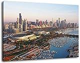 Chicago Skyline Format:100x70 cm Bild auf Leinwand bespannt, riesige XXL Bilder komplett und fertig gerahmt mit Keilrahmen, Kunstdruck auf Wand Bild mit Rahmen, günstiger als Gemälde oder Bild, kein Poster oder Plakat