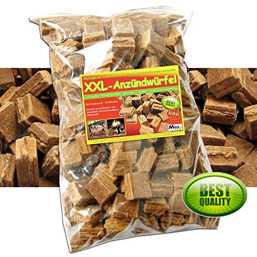144 Stück XXL - Anzündwürfel ökologische Kamin & Grill Anzünder - CO2 neutral & umweltfreundlich