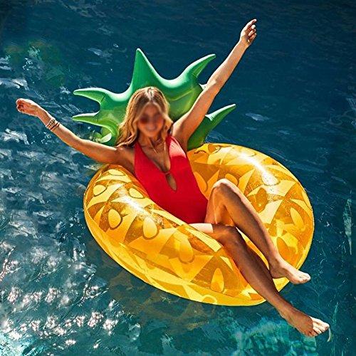 LQY Neue Übergroße Ananas Schwimmring Erwachsene Schwimmende Reihe Ananas Wasser Stuhl Aufblasbare Schwimmende Bett Blasen