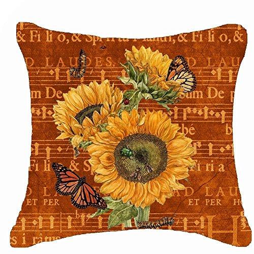 Sonnenblumen-kissen Dekorative (fringcoook Retro Sonnenblume Blumen Musik Beinarbeit Überwurf Kissenbezug Kissen Fall Baumwolle Leinen Material dekorative 45,7x 45,7cm quadratisch (45,7x 45,7cm, 3))