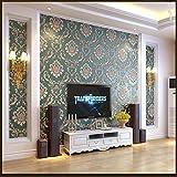 yhyxll 3D Europeo en Relieve Damasco protección del Medio Ambiente no Tejido Papel Tapiz TV Fondo Sala de Estar Dormitorio Papel Tapiz 1