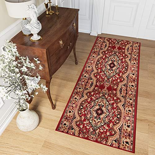 Tapiso atlas tappeto passatoia corridoio classico colore rosso beige motivo tradizionale ornamento morbido 100 x 140 cm
