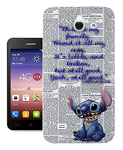 458 - stitch ohana this is my family Design Huawei Ascend Y550 Fashion Trend Protecteur Coque Gel Rubber Silicone protection Case
