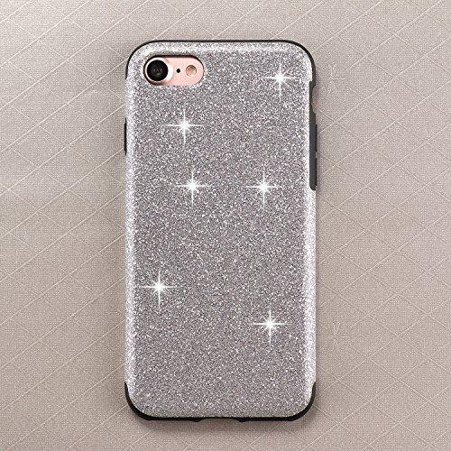 iPhone 7 Hülle, TENDLIN Luxury Hybrid Glitzer Bling Kristall [Exakt-Anpassen] Weiches TPU Glänzend Glitzer Schönheit Hülle für iPhone 7 (Rosa) Silber