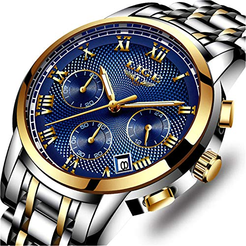 LIGE Uhr Herren Edelstahl Wasserdicht Sport Analog Quarzuhr Mode Chronograph Kalender Geschäfts Kleid Armbanduhr Männer Gold Blau (Rolex Armbanduhr Blau)