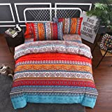 Bettwäsche Set 3 Teilig Bohemian Bettbezug Set Boho Indischen Exotischen Ethnischen Stil Mandala Bettwäsche Set Mit Bettlaken Kissenbezug (Bunt, 150x200cm)