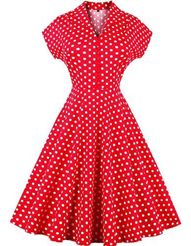 Rolanscia Damen Pinup Kleider 1950er Retro Polka Dots Petticoat Partykleider Cocktailkleid Red&Polka Dots 2XL