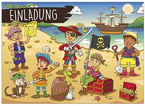 16 Einladungskarten zum Kindergeburtstag - Motiv Piraten - für Kinder, Jungen, Mädchen, Schatzkarte Party Feier Geburtstagseinladungen im Set