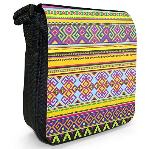 Tradizionale con motivo tribale azteco messicano per piccola borsa a tracolla in tela, colore: nero, taglia: S Nero (Blue Yellow Pink Geometric)