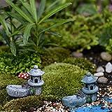 ROKFSCL Garten Decor Mini Asiatischen Pagode Laterne Outdoor Statue Kunstharz Micro Schmuck Landschaft (4,5x 5cm) Farbe zufällige, Wie Abgebildet, 4.5*5.5cm/1.77