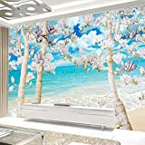 Zxdcd Custom 3D Photo Wallpaper Big Mural Blue Sky White Clouds Sea Magnolia Tree Bedroom Living Room Sofa Tv Decoration Wallpaper-120X100Cm