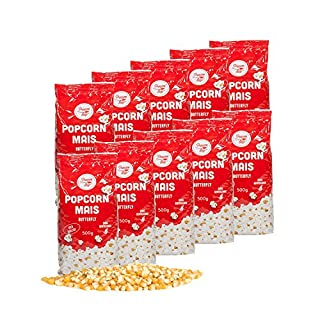 Popcorn Mais Butterfly 10 x 500g für Popcornmaschine Popcornloop Beste Gold Qualität Ohne Gentechnik Vegan Glutenfrei