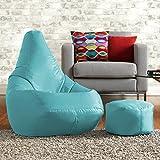 Sitzsack zum liegen und spielen mit kostenlosem passenden Hocker– Wasser abweisend für innen und außen, ein Sitzsack Stuhl von Bean Bag Bazaar - für Erwachsene und Kinder (Hellblau)