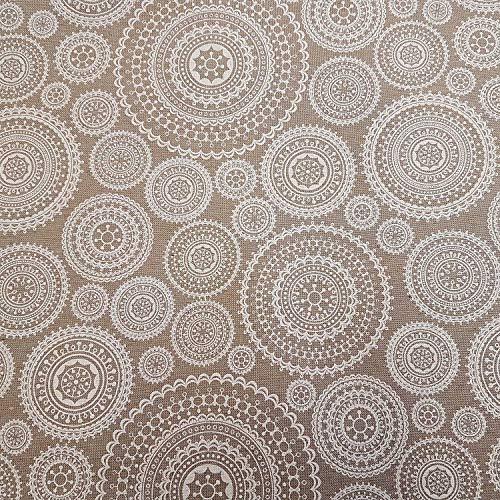 Werthers Tissu au mètre en Coton Enduit Beige Blanc Mandala Nappe Lavable