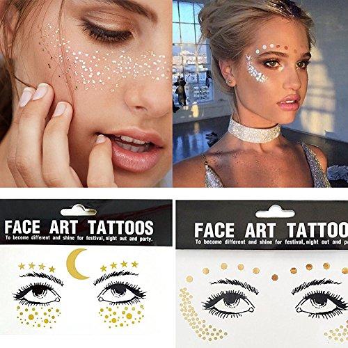 Yuccer Tatouages Temporaires Femme, Imperméable Autocollant de Visage Métalliques Brillants pour l'effet Glitter les Spectacles et le Maquillage Paquet de 3(F171823)