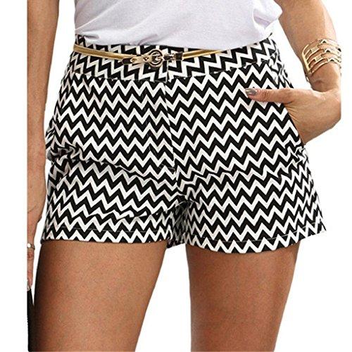 Damen Shorts, Bekleidung Longra Damen Mitte Taille Welle Print Print kurze Sommerhosen (s, Black) (Mitte Hose Taille Damen)