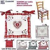 Shabby - Coussin galette de chaise rembourré, motif tyrolien rustique à cœurs, produit de haute qualité SET 2 CUSCINI rouge