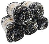 Alize Punto Anti Pilling 5 x 100 Gramm Mosaik Wolle Tweed-Effekt mit farbigen Tupfern, Effektwolle (schwarz grau weiß 6362)
