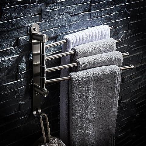 JIAHENGY Poinçonnage 304 acier inoxydable activité de tréfilage tournant avec du matériel d'épaississement de quatre tige crochet suspendu salle de bain WC cuisine Tenture murale style