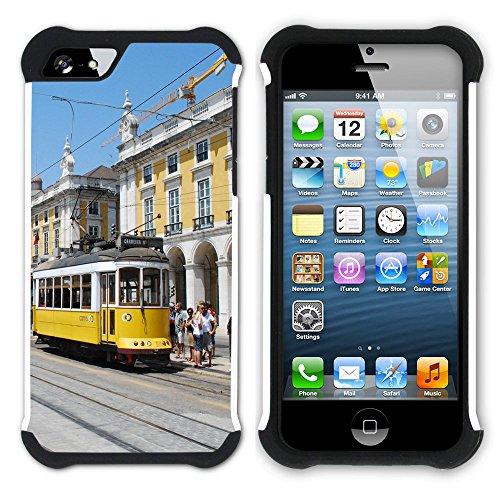 Graphic4You Lissabon Portugal Postkarte Aussicht Hart + Weiche Kratzfeste Hülle Case Schale Tasche Schutzhülle für Apple iPhone SE / 5 / 5S Design #6