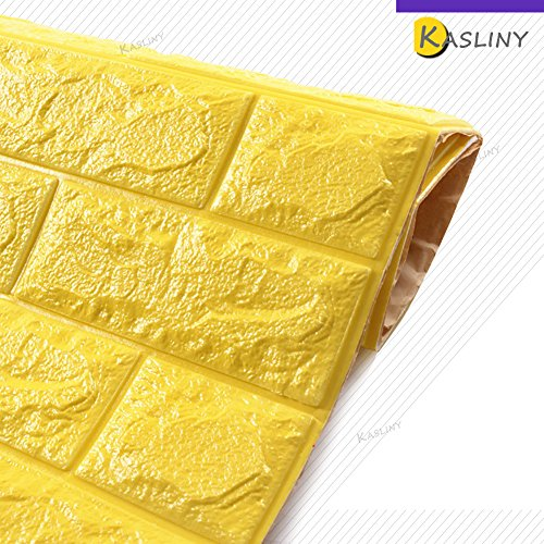 5 Stüc 3D Ziegel Tapete, Wandaufkleber Stereo Wandtattoo Papier Abnehmbare selbstklebend Tapete für Schlafzimmer Wohnzimmer moderne Hintergrund TV-Decor 60x60cm (Gelb 5 Stück) (Gelb Abnehmbaren Tapeten)