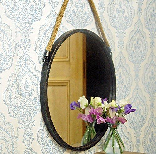 Dark Grau Vintage Design Spiegel rund mit Seil Aufhänger