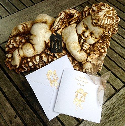 Pietra cherubino/angelo-Boy ornamento statua/scultura per casa e giardino Remembrance-Xmas Natale idea regalo